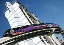 Monorail og hotel Ballys i Las Vegas